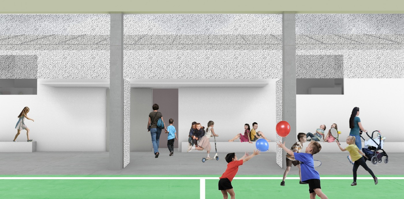 A fluid space between the youth center and its new neighbor, the kindergarten.